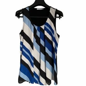 Black tank top with blue white stripes scoop neck